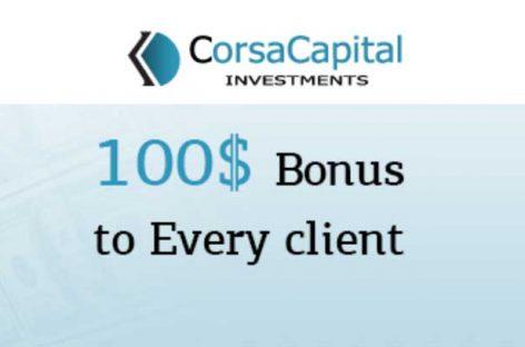 $100 Welcome NO-Deposit Bonus – Corsa Capital