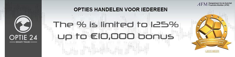 Optie24 125% Options Deposit Bonus